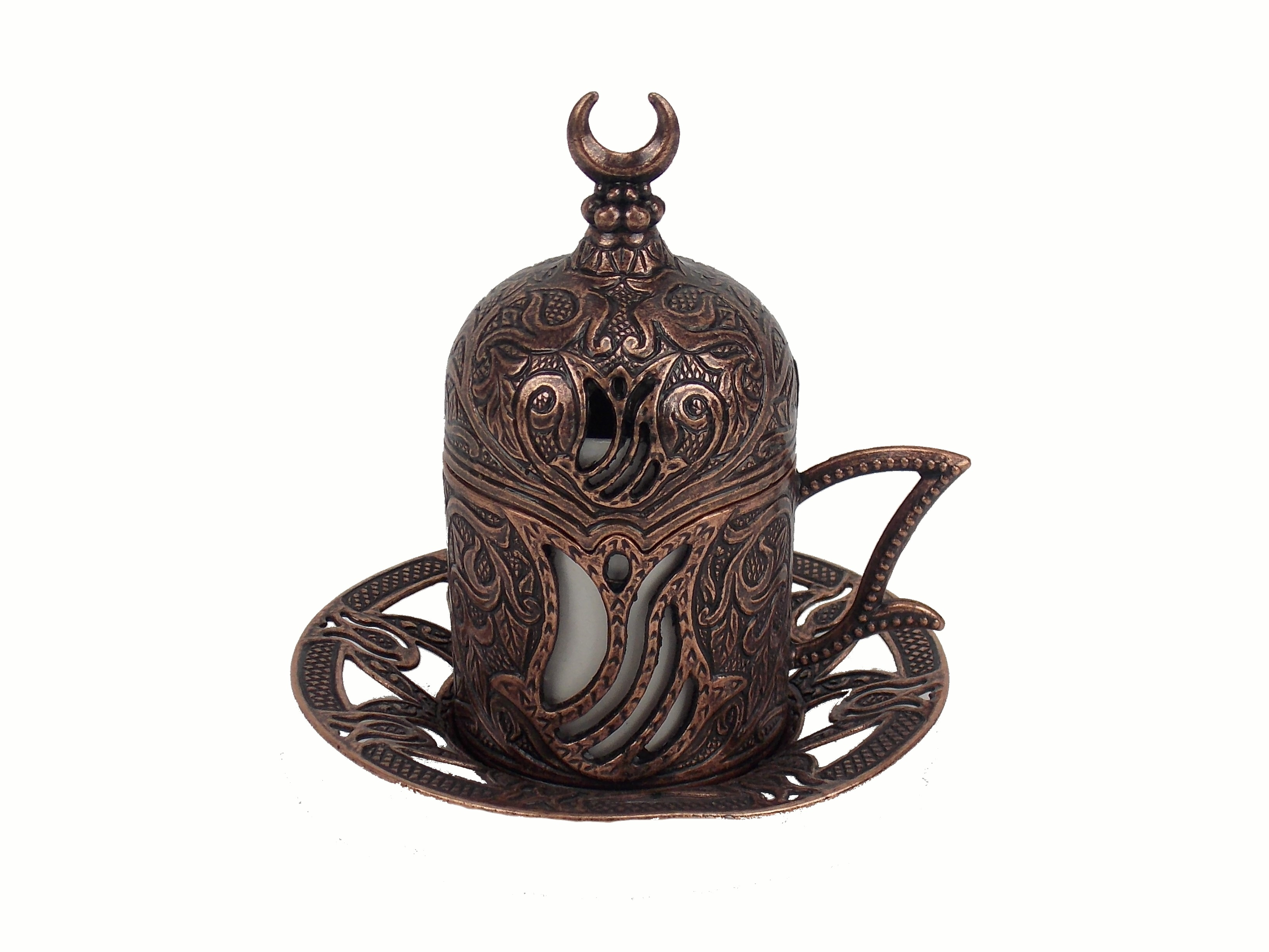 Ceasca   cafea turceasca din metal si  ceramica -culoare cupru, 80 ml