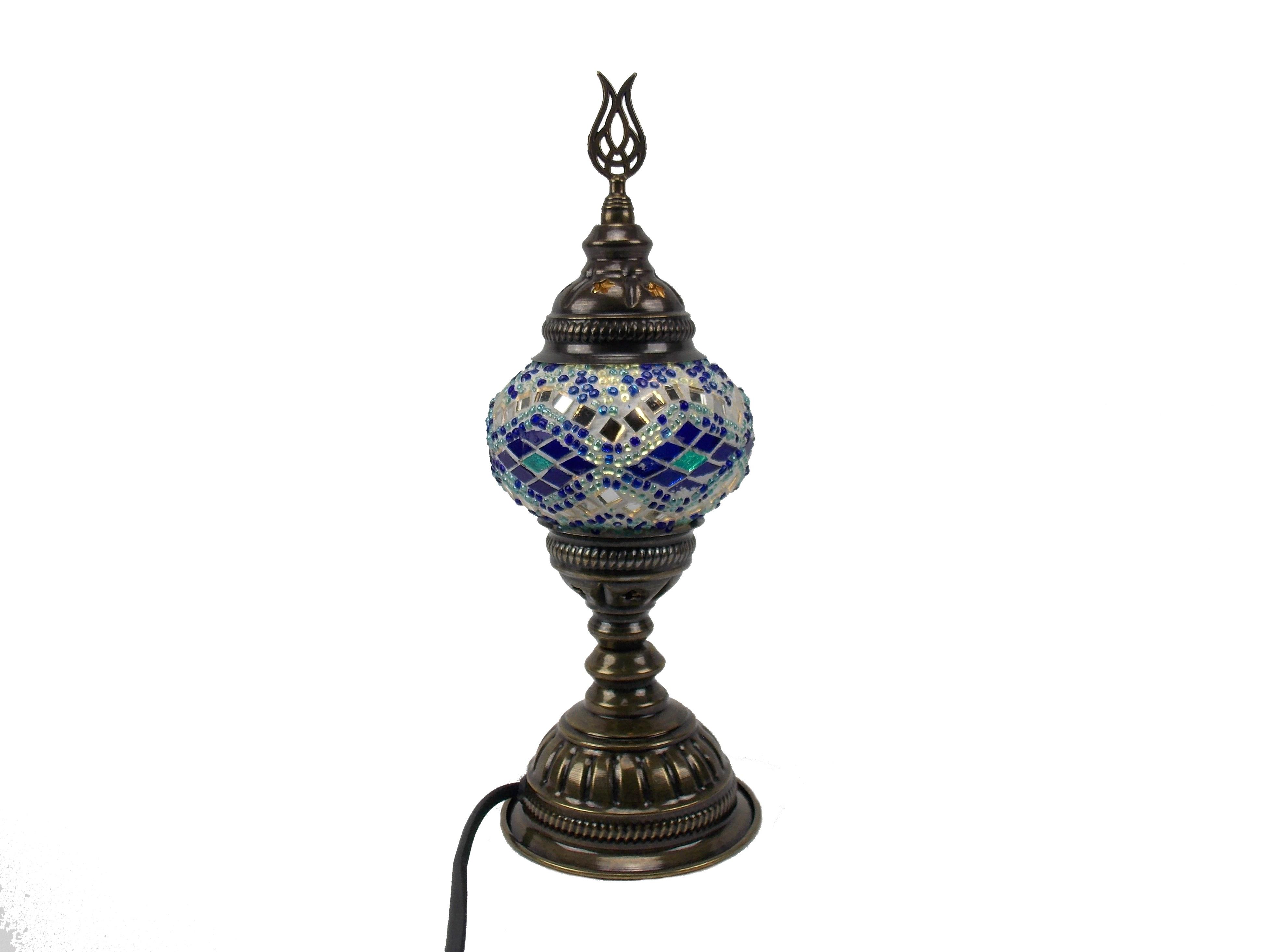 Veioza turceasca cu glob de sticla mozaic, cu picior de metal ,h 30cm,