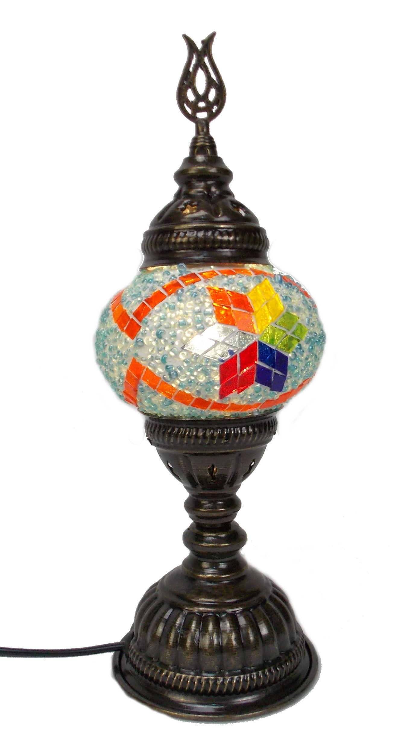 Veioza  turceasca cu glob de sticla mozaic, pe picior de metal cu h 30 cm
