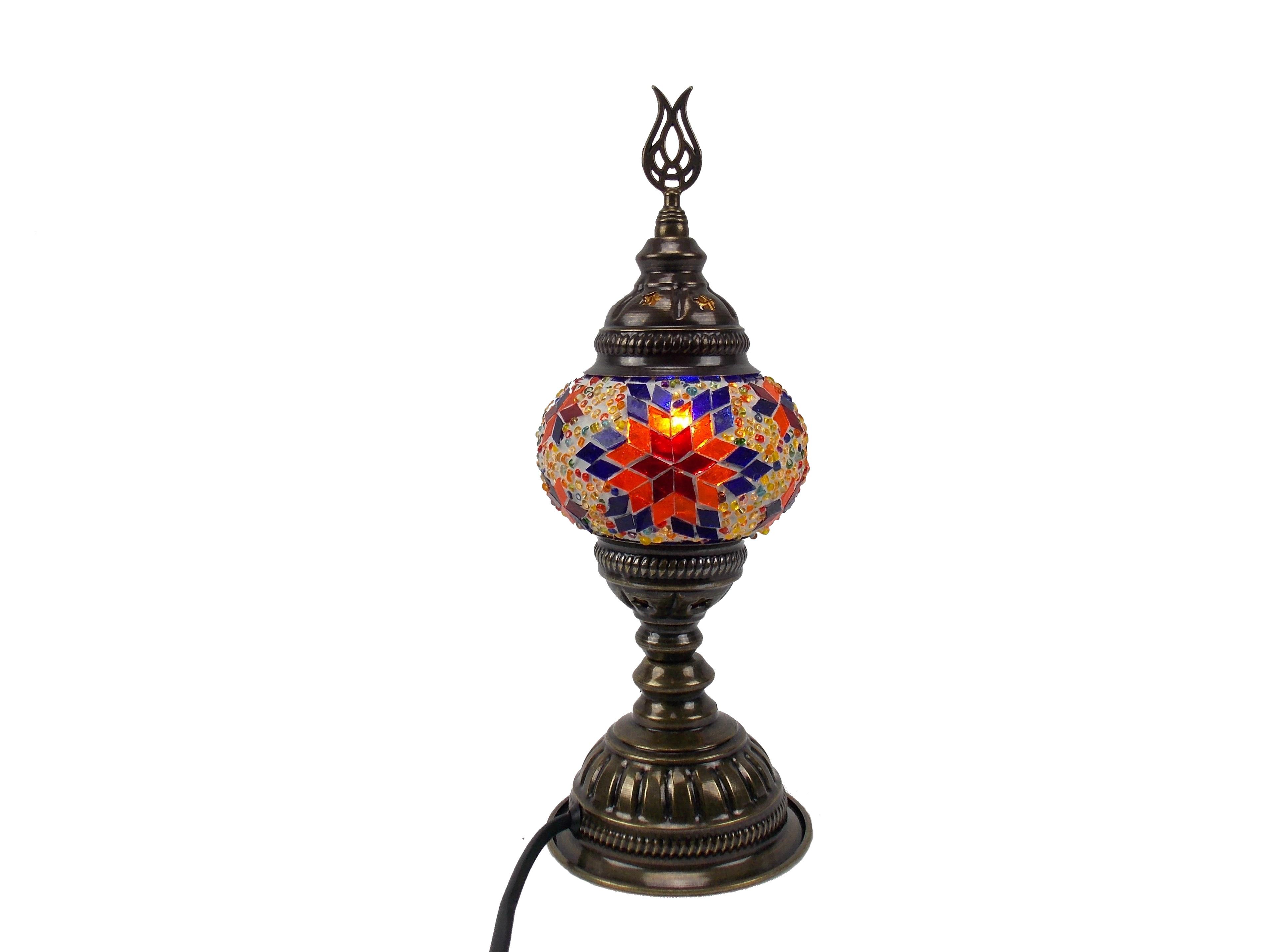 Veioza orientala din mozaic,  handmade, decorativa ,cu glob de sticla mozaic - picior din metal 30 c