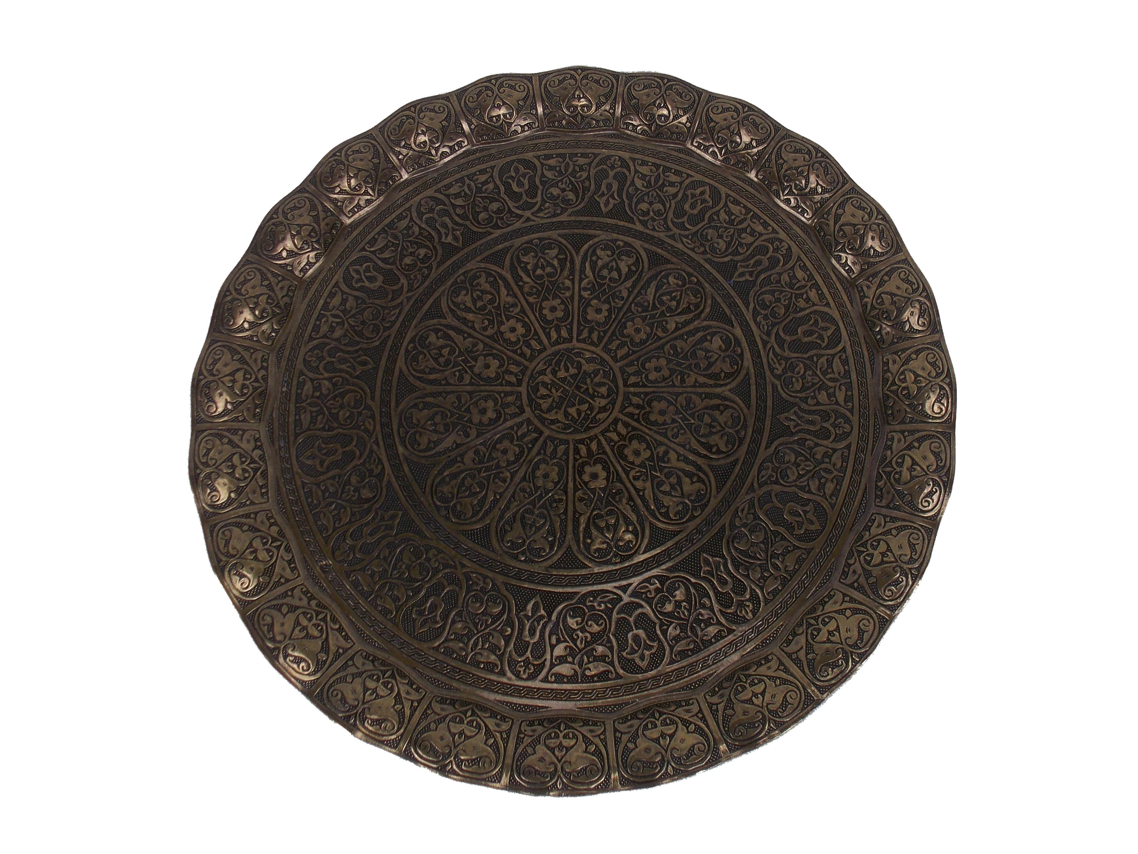 Tava servire model oriental - culoare alama antica, 35 cm