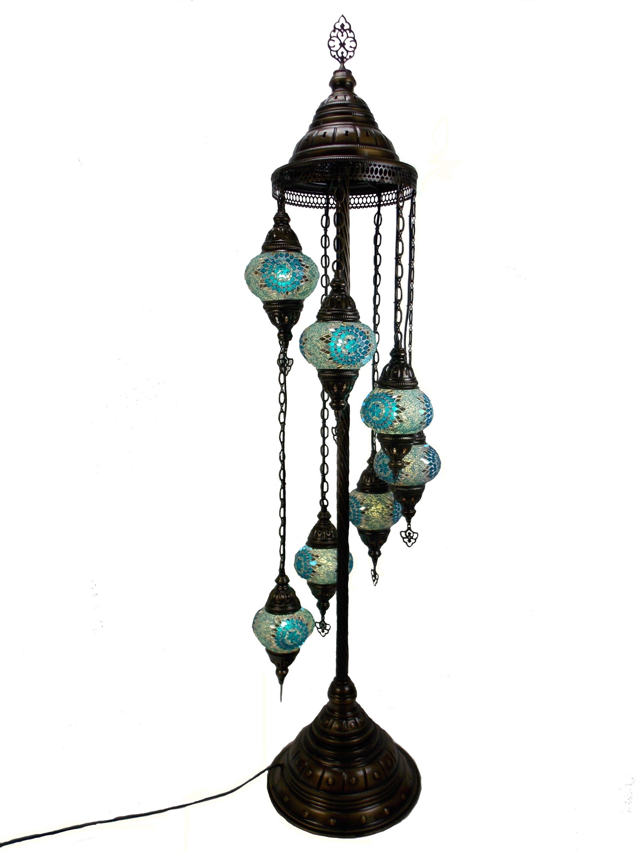 Lampadar pe suport metalic decorativ din sticla mozaic orientala - h de 145 cm