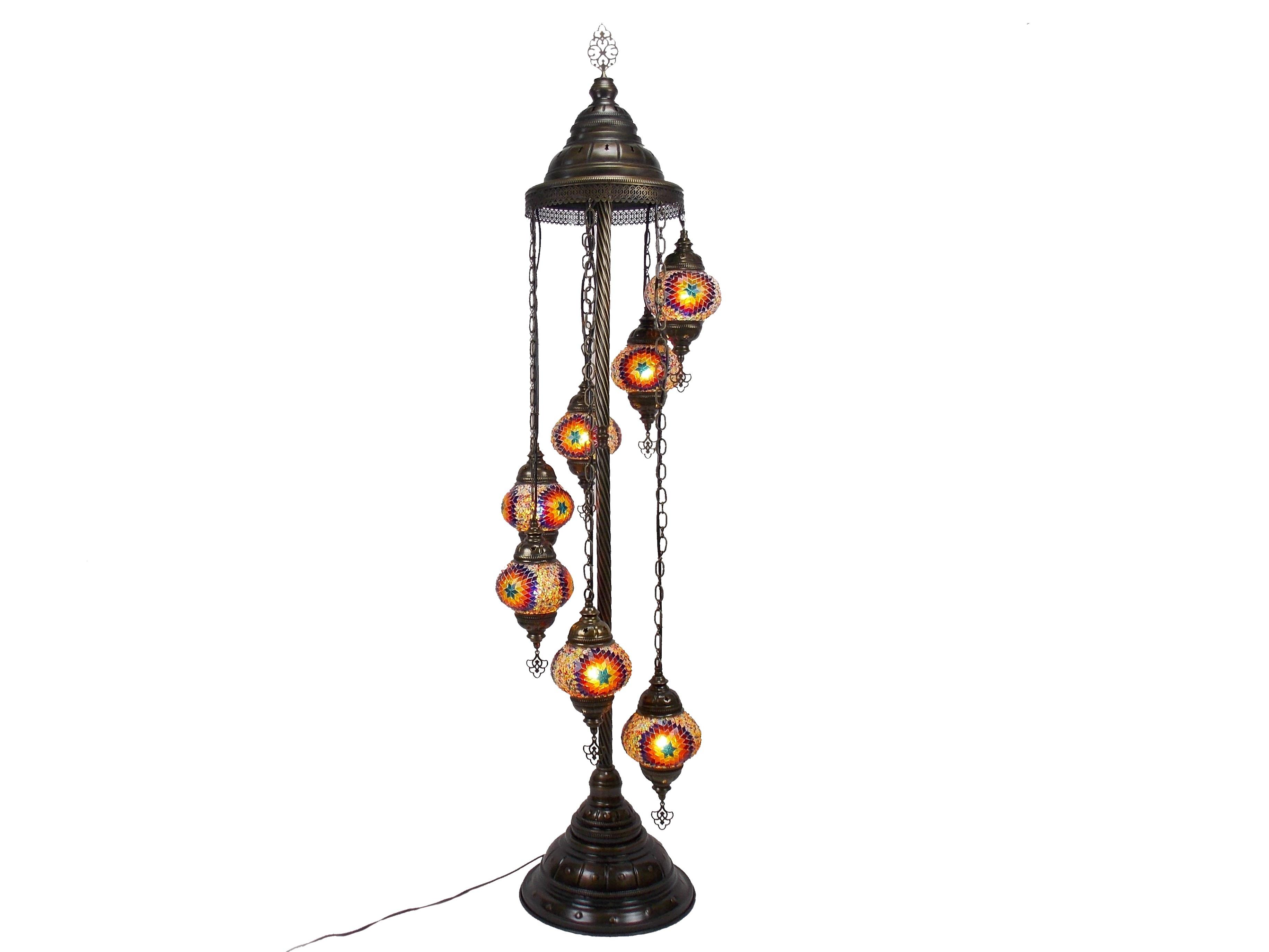 Lampa orientala pe picior 145 cm, 7 globuri sticla mozaic, glob 13 cm