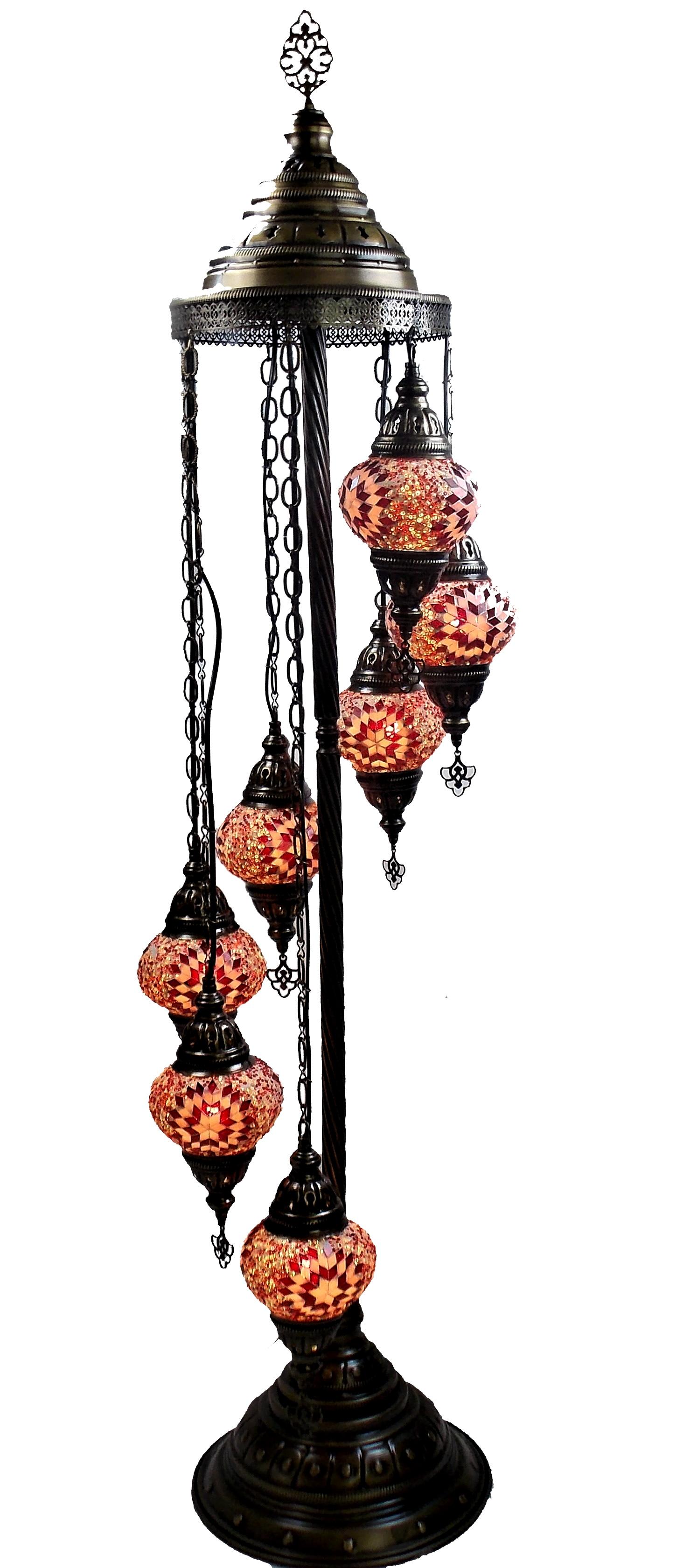 Lampadar turcesc cu 7 globuri  din mozaic