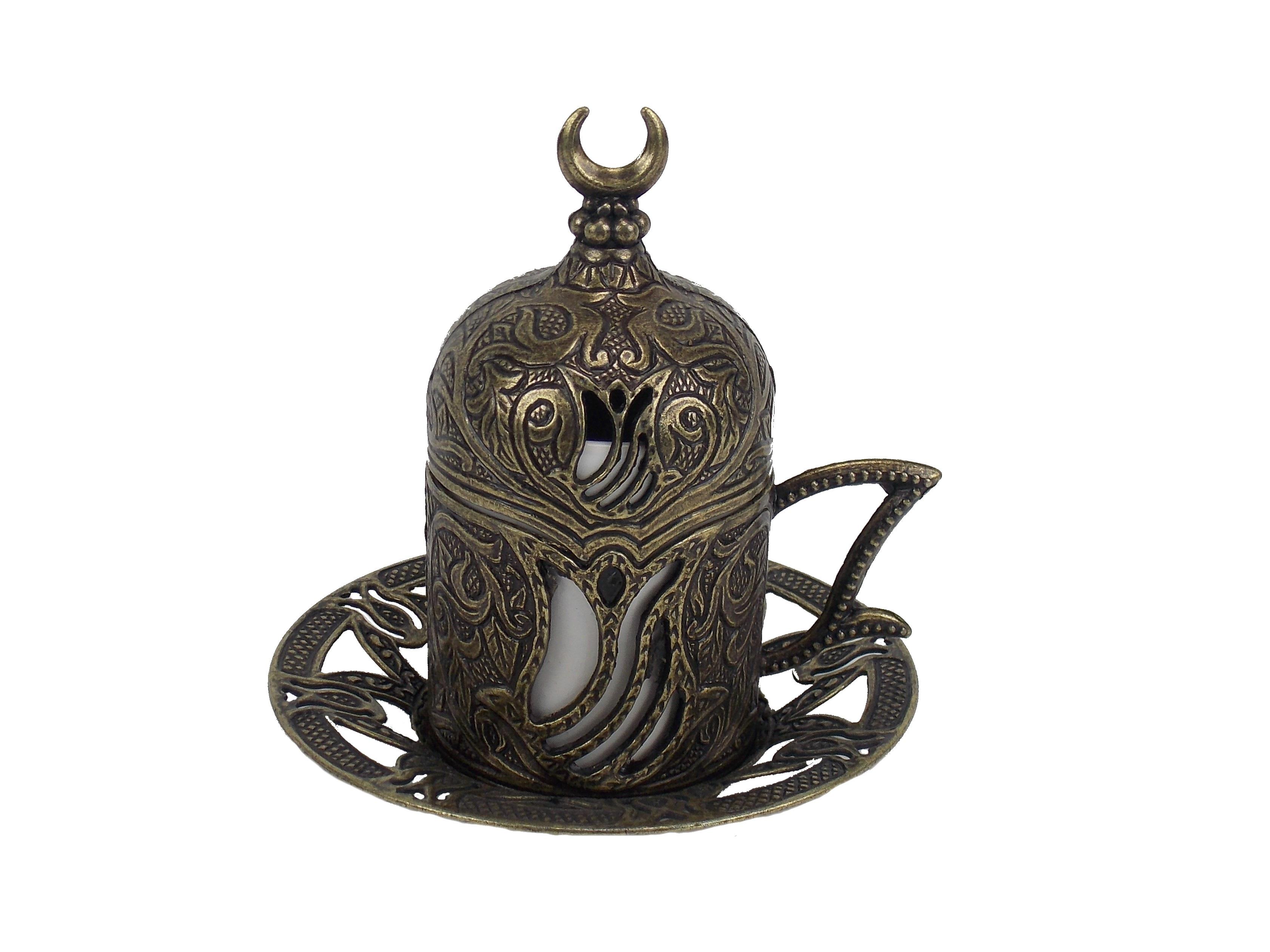 Ceasca  cafea  turceasca din metal si ceramica - culoare alama antica, 80 ml
