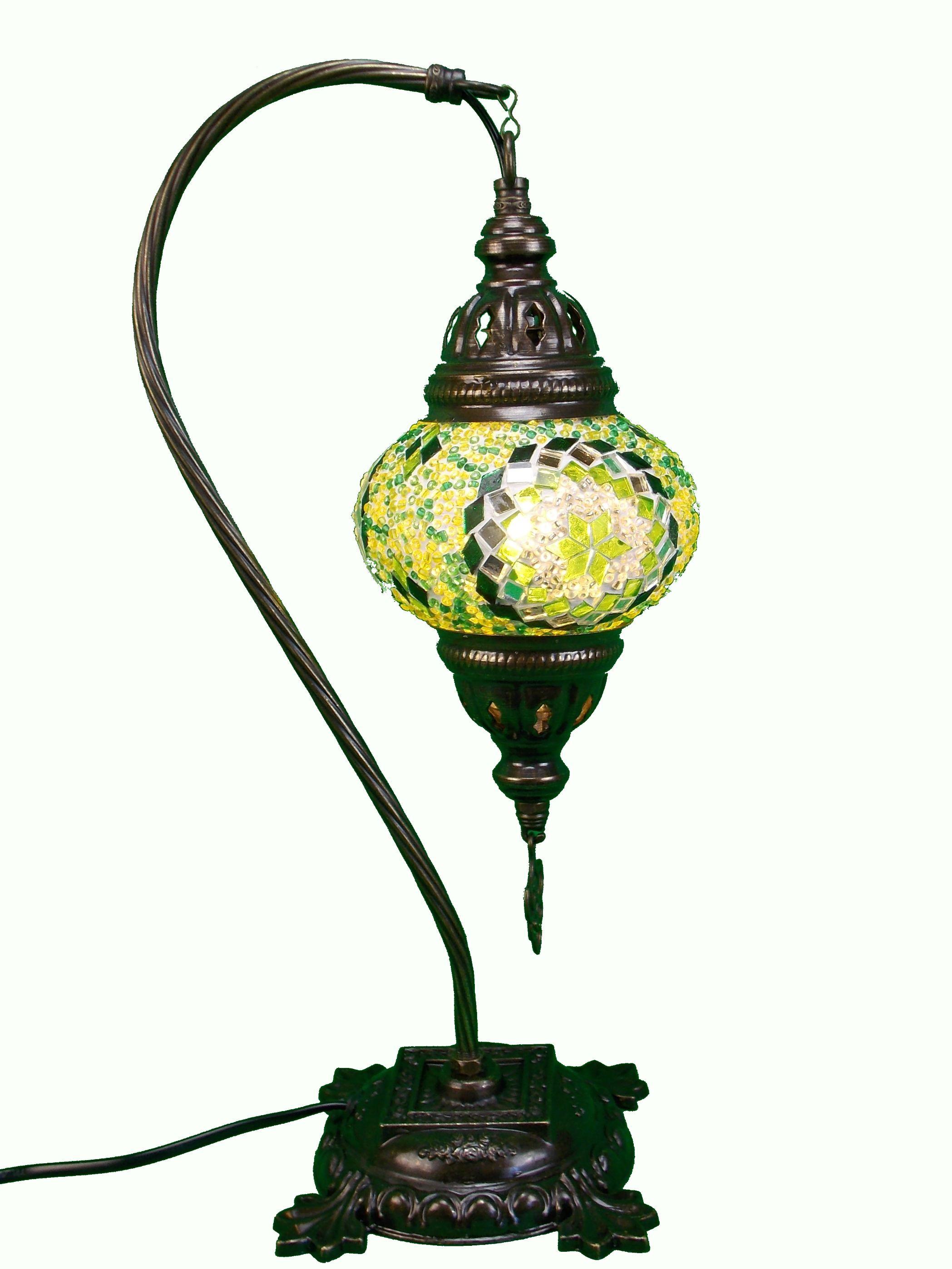 Veioza de sticla mozaic din Turcia ,picior de metal 41cm,glob 13cm