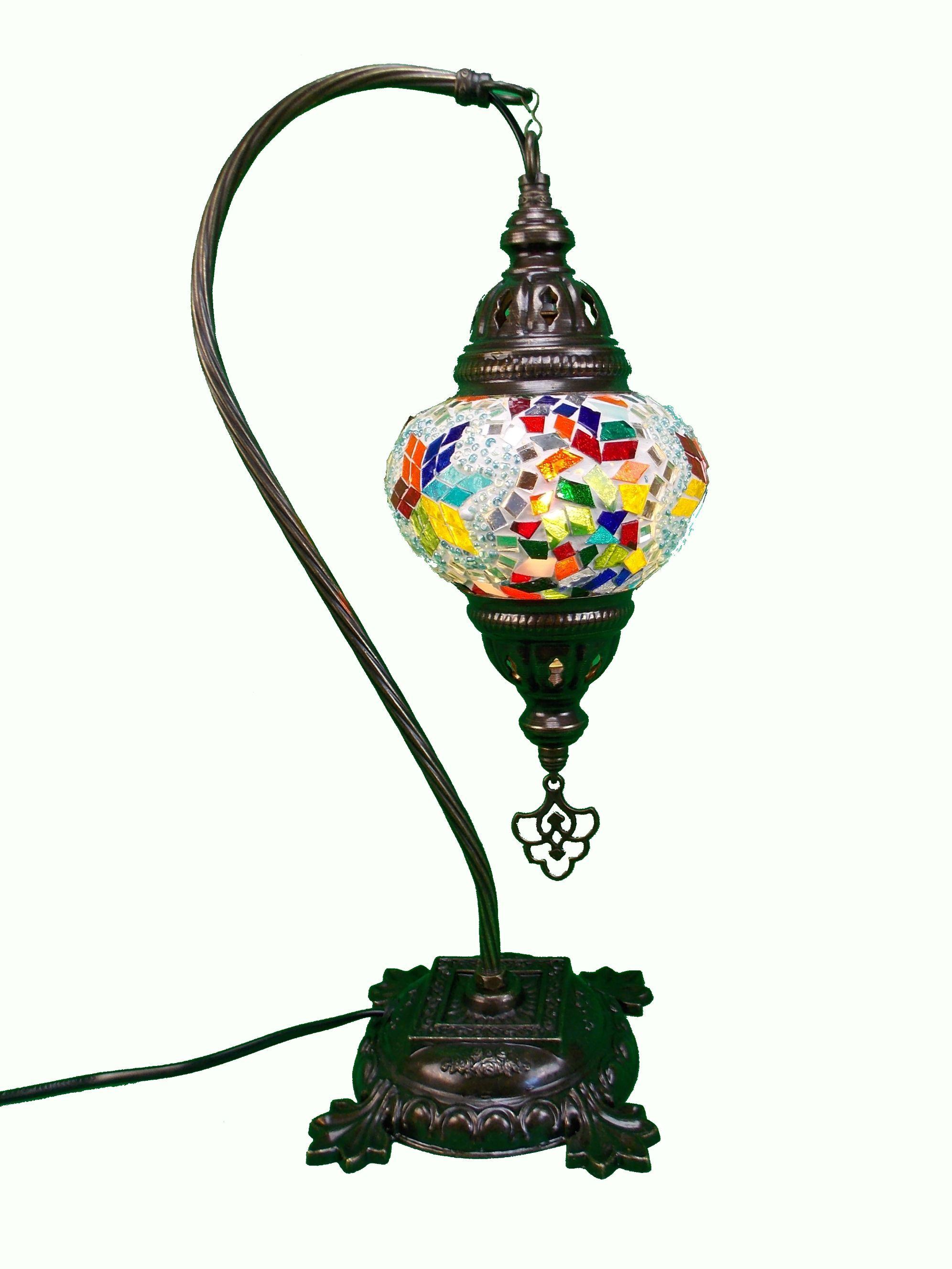 Veioza  mozaic turceasca -picior din metal 44cm,glob din sticla cudiametrul 13cm