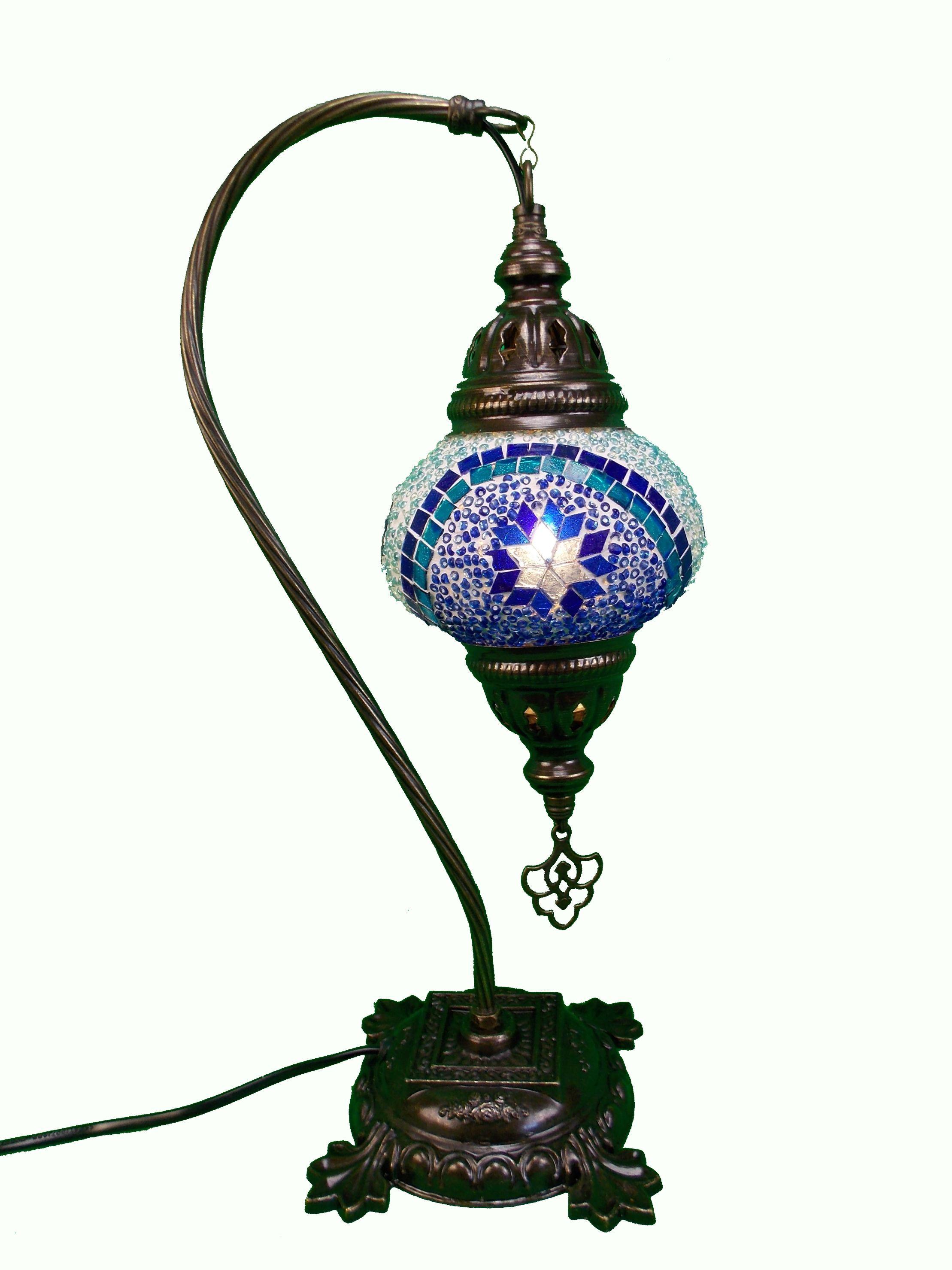Veioza mozaic turceasca ,picior de metal 41cm,glob 13cm