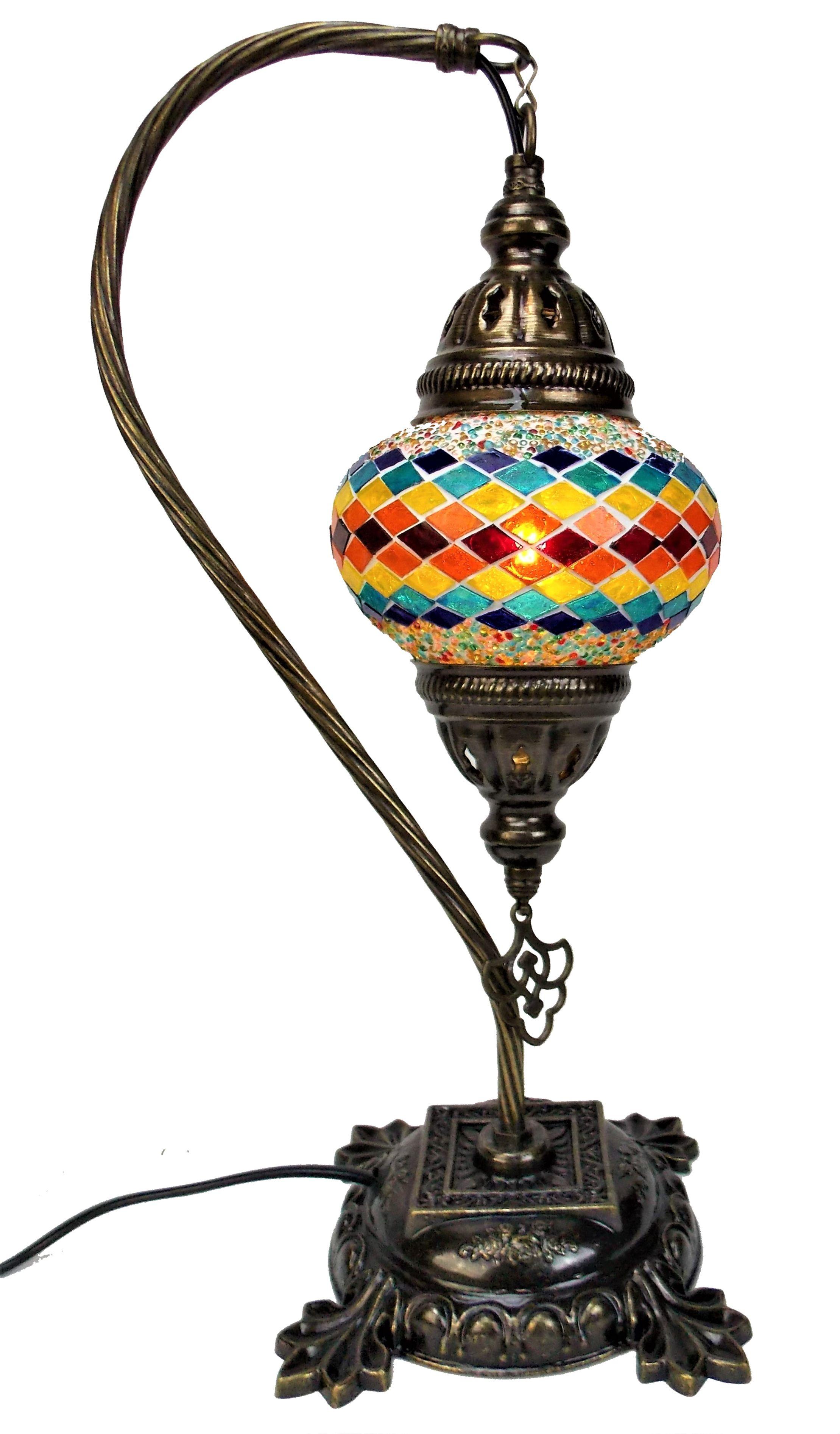 Veioza de sticla mozaic din Turcia ,picior de metal 44cm,glob 13cm