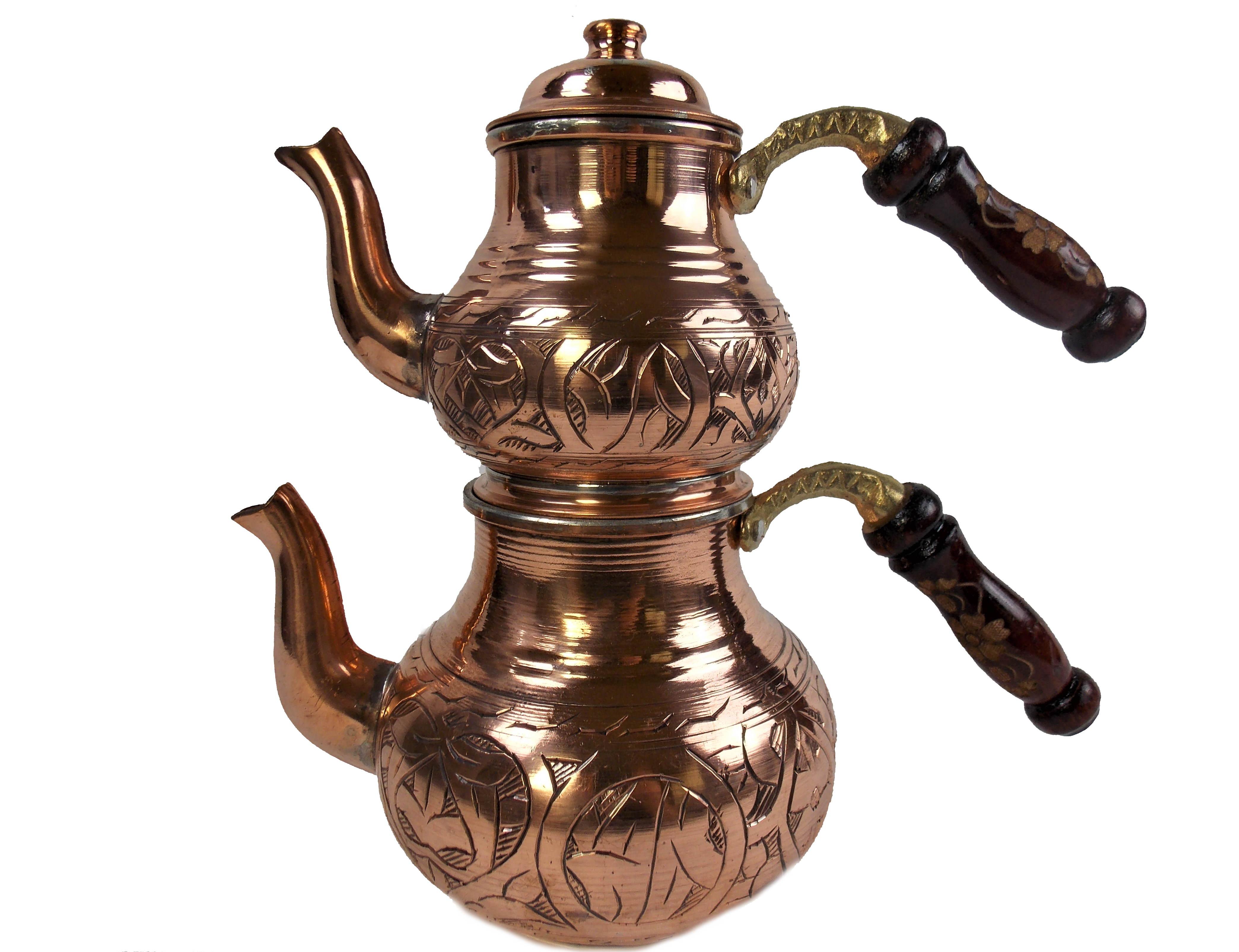 Set ceainic turcesc din cupru,  500ml + 700ml