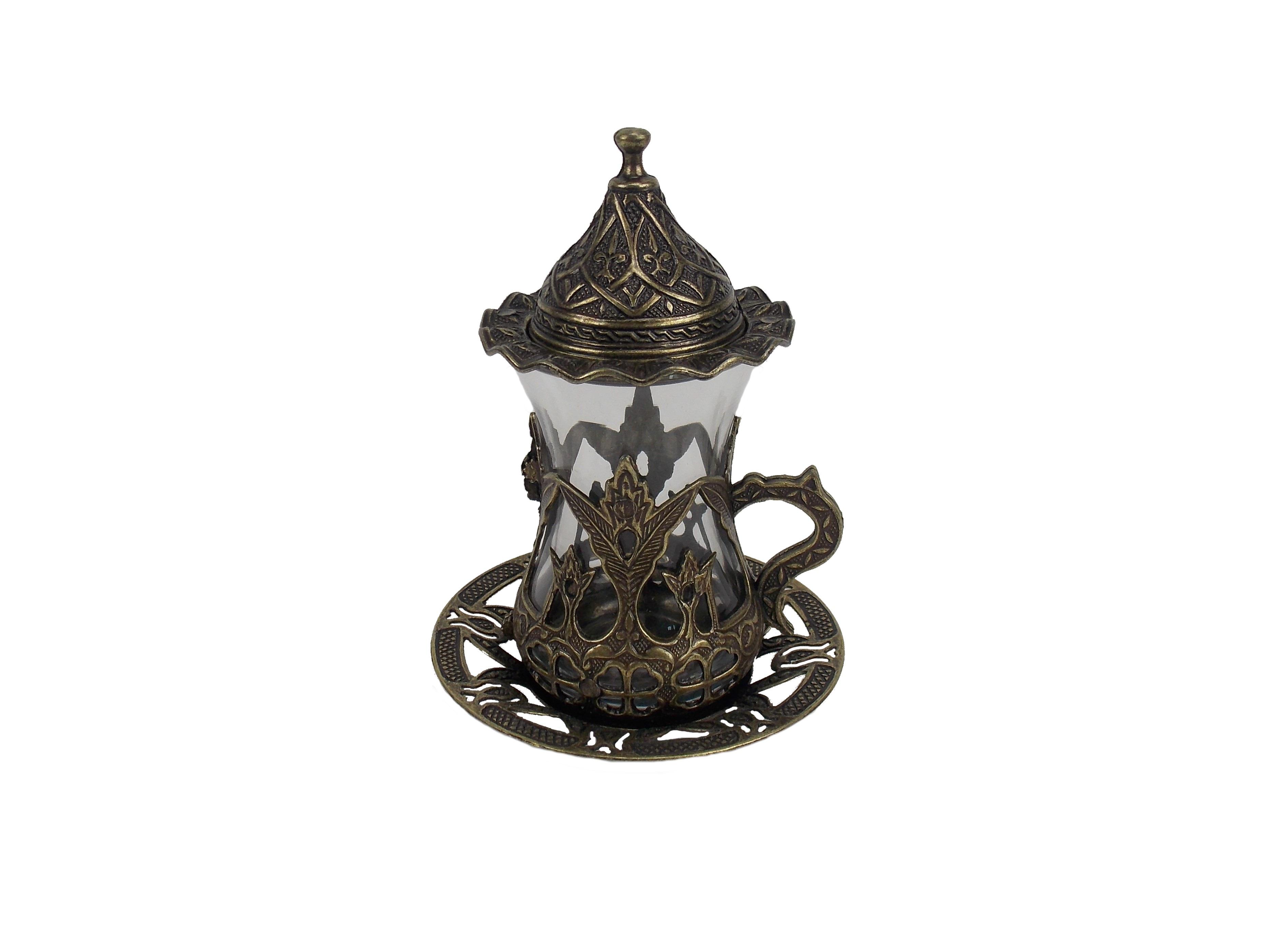Ceasca ceai  turceasca din metal si sticla -culoare alama antica, 100 ml