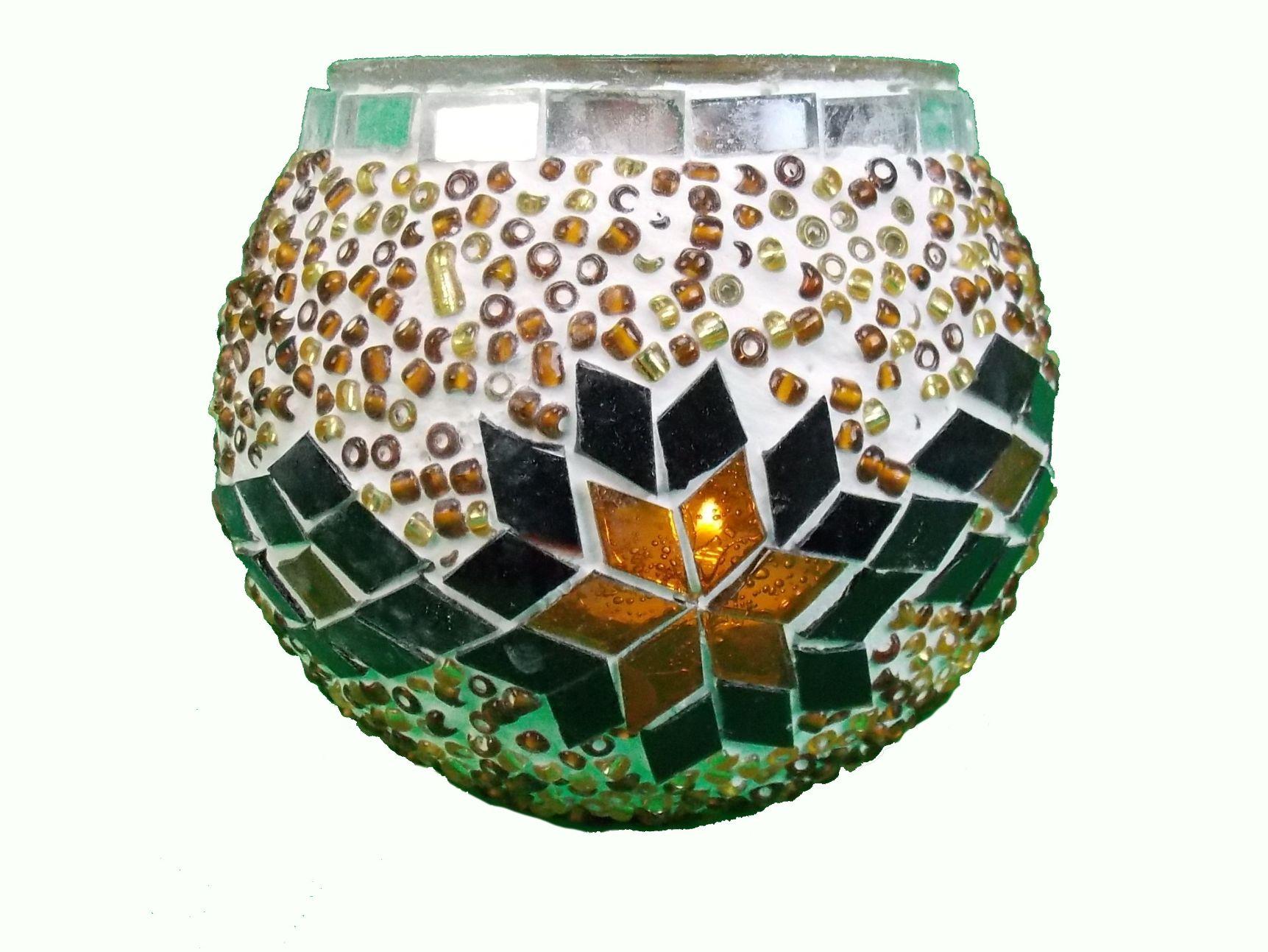Candela mozaic 9cm -suport lumanare tip pastila