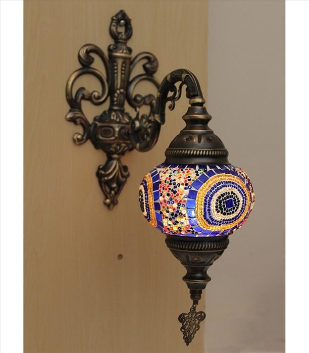 Aplica de perete cu glob de sticla - picior din metal, glob 16 cm