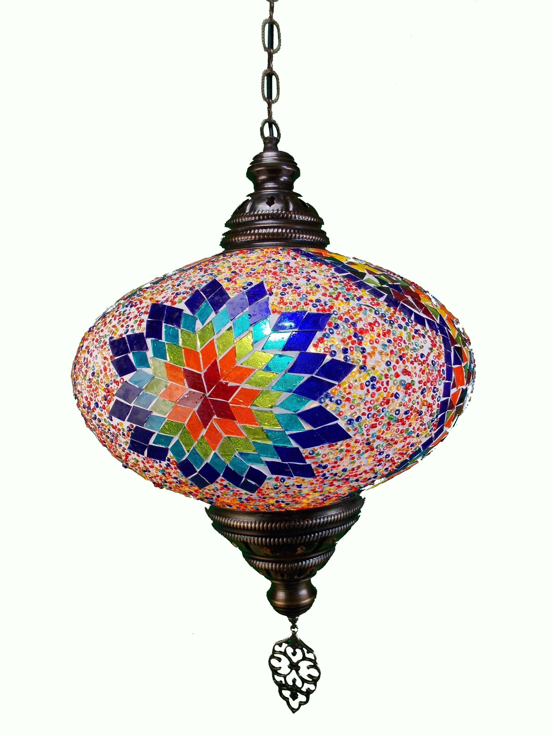 Lampa turceasca  de tavan cu glob din mozaic si lant metal 73cm lant ,35cm diametrul glob