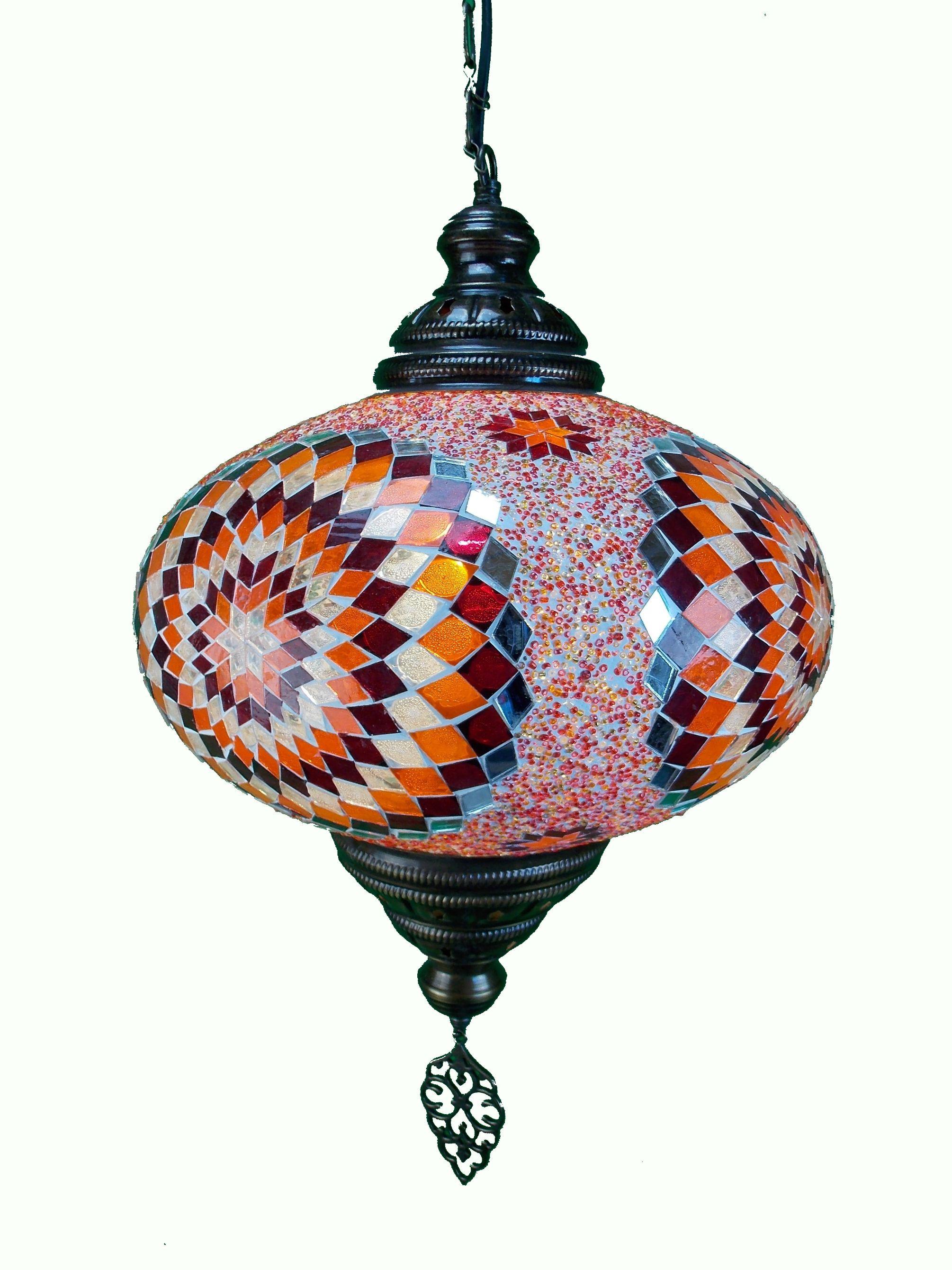 Lustra  turceasca din mozaic  cu glob din sticla si lant din metal 73cm  ,35cm diametrul globului