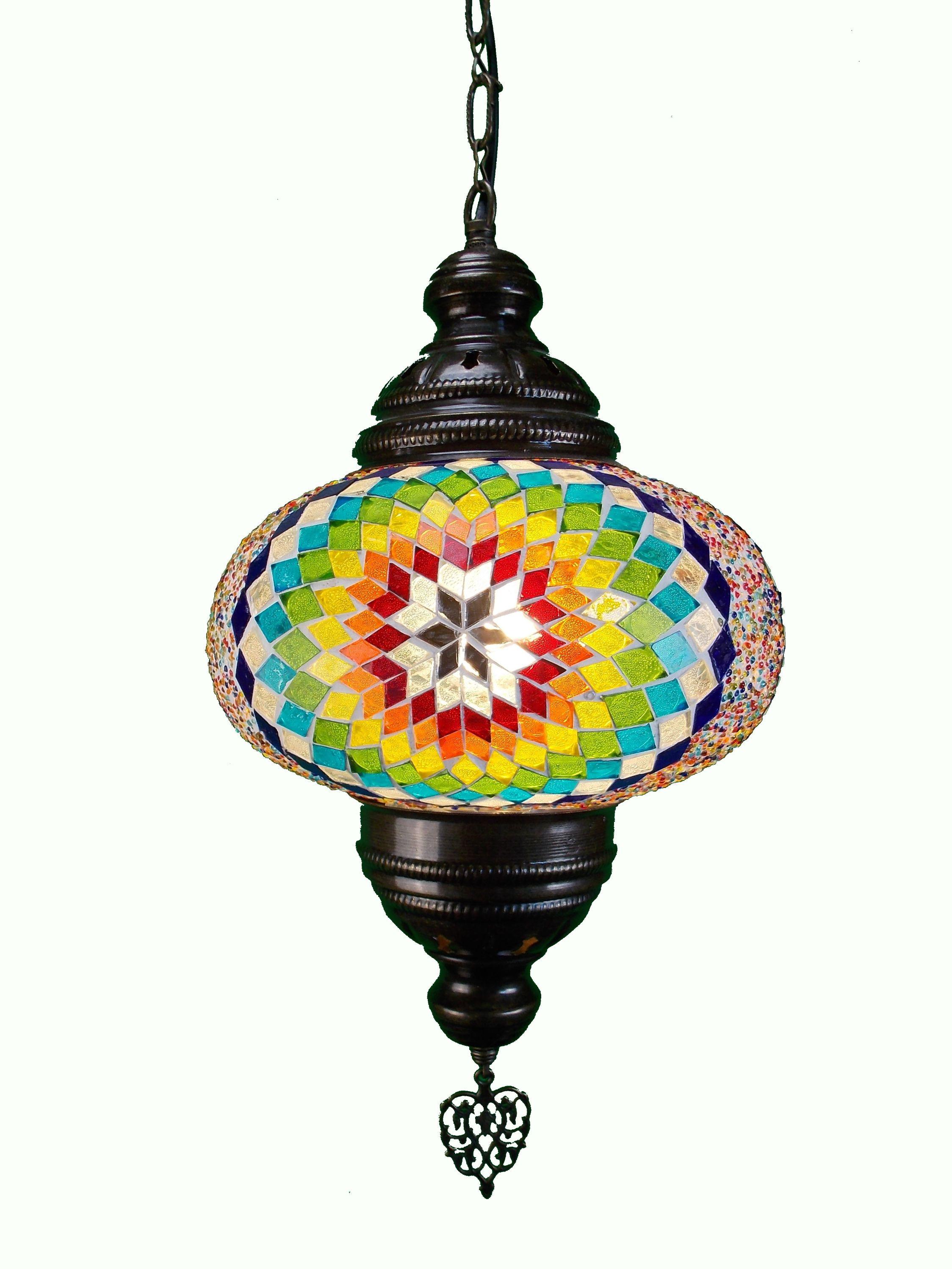 Lampa stil oriental de tavan cu glob din mozaic si lant metal
