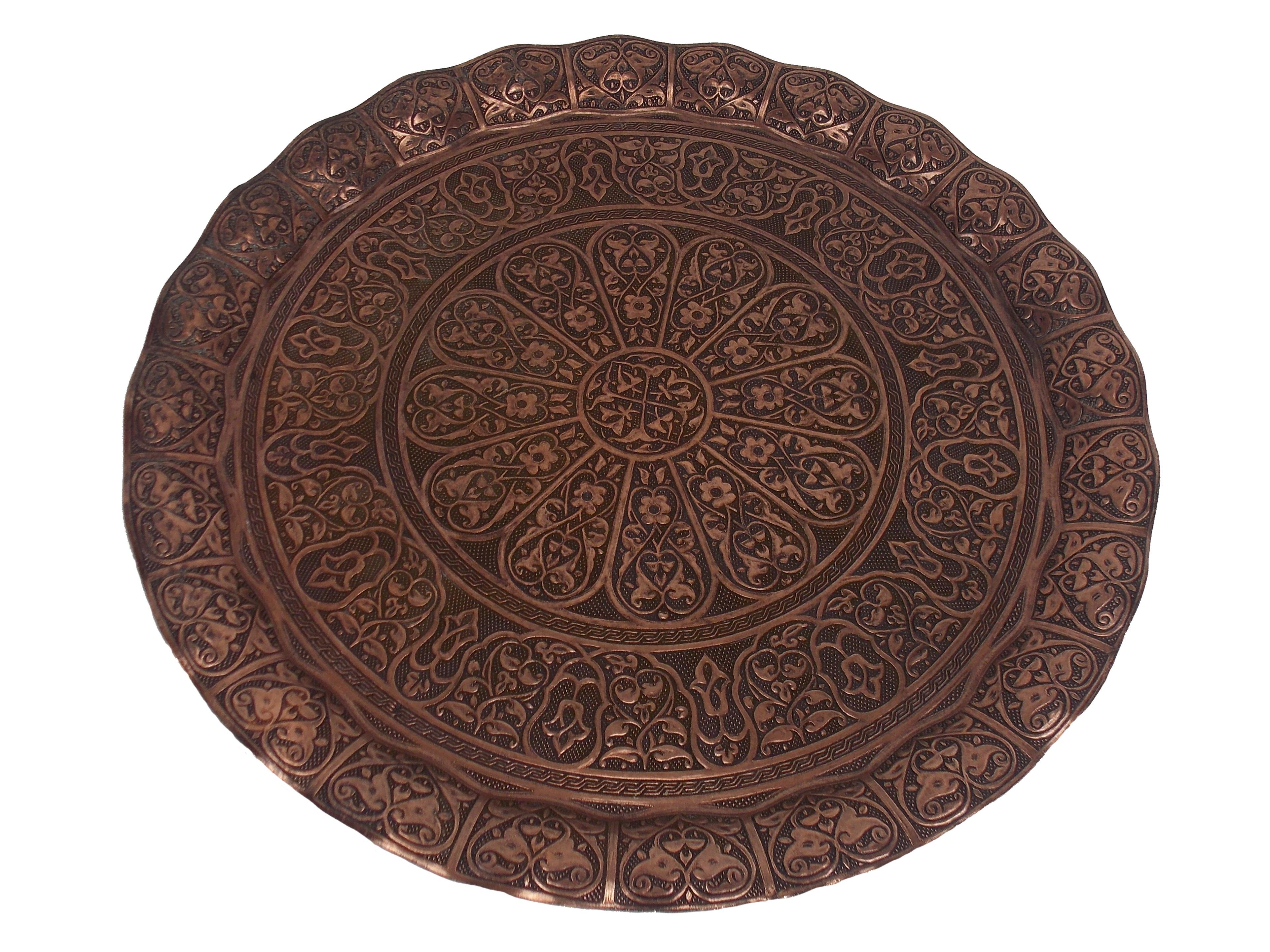 Tava orientala  din metal pentru servire - culoare cupru antic, 35 cm