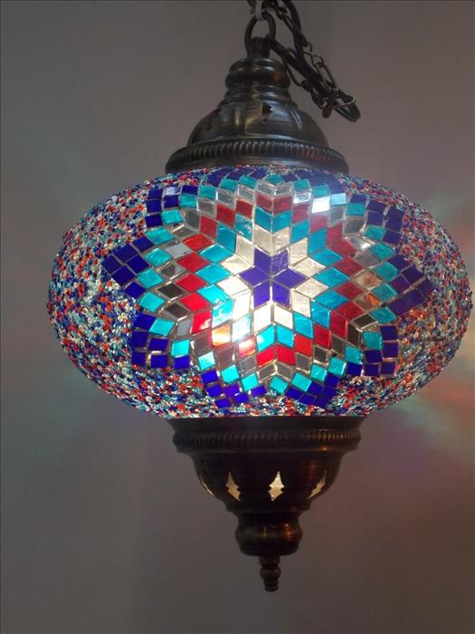 Lustra cu glob de sticla si lant - metal, picior 73 cm, glob 35 cm