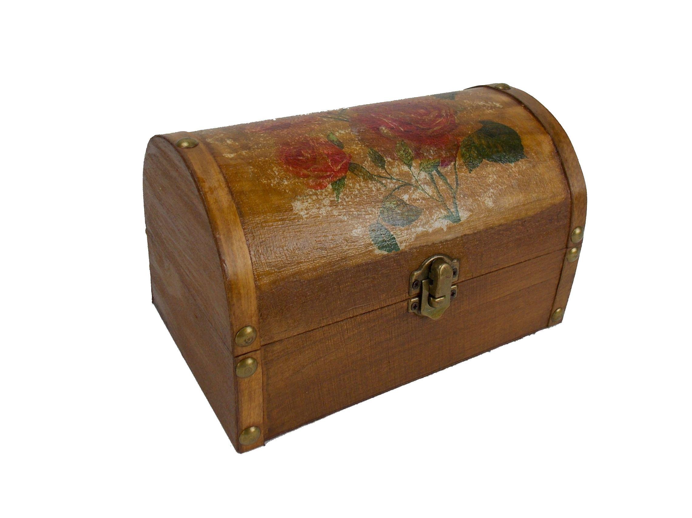 Cutie bijuterii cu desen trandafiri model cufar din lemn