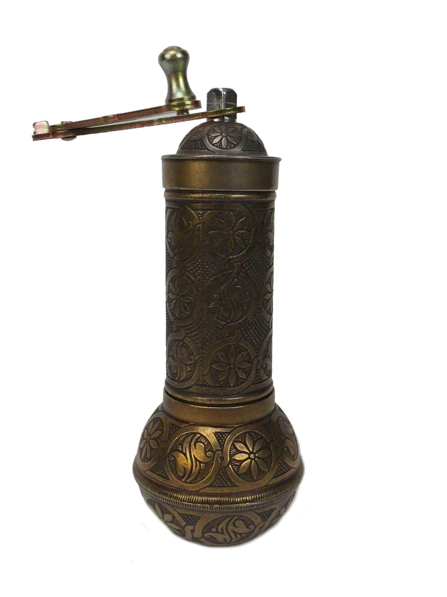 Rasnita manuala pentru cafea - metal, culoare alama antica, 21 cm