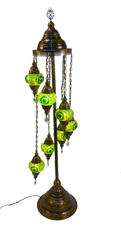 Lampadar cu 7 globuri din sticla mozaic -decorativ , culoare verde