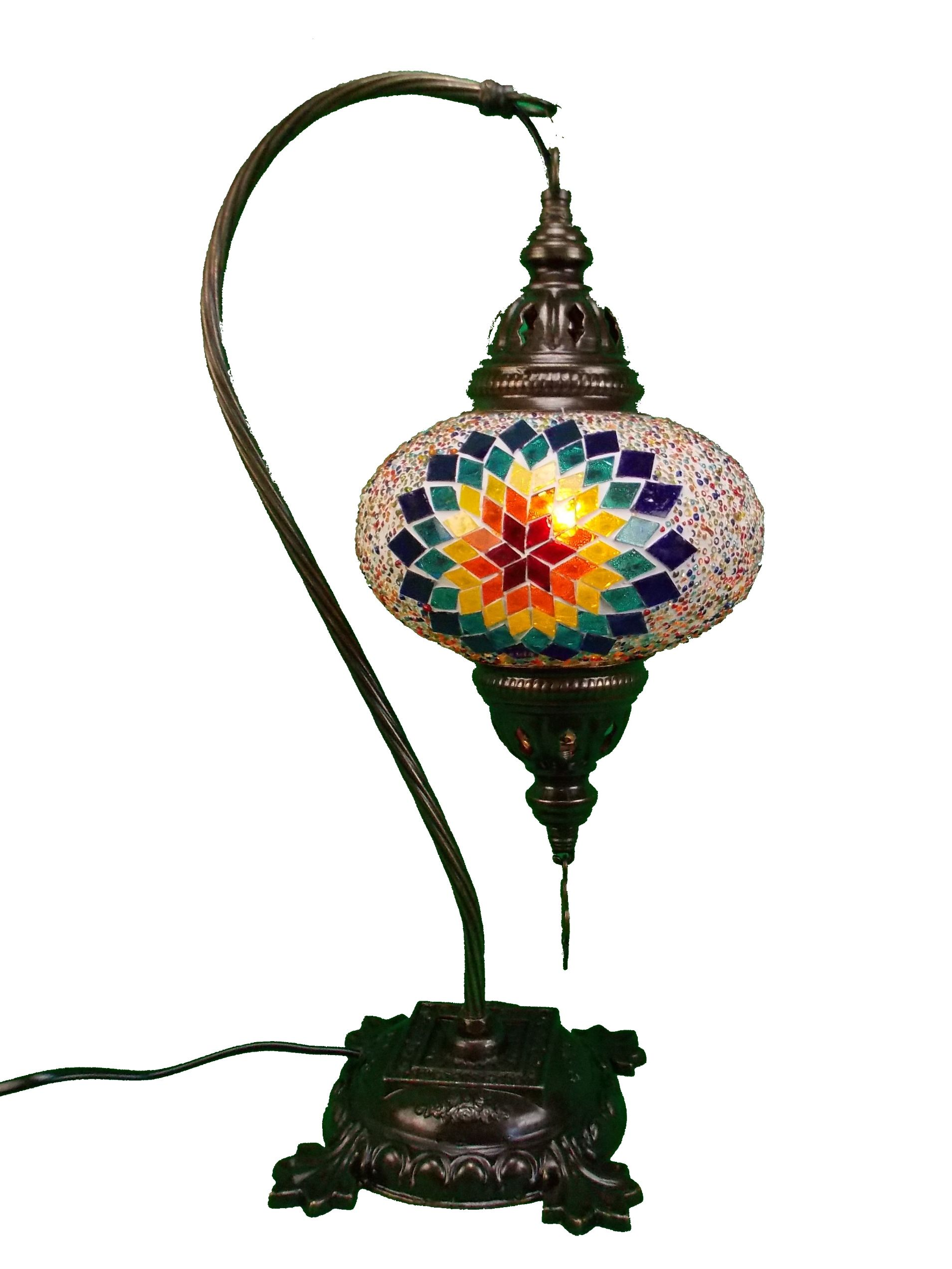 Lampa  mozaic- turceasca, handmade, cu glob din sticla mozaic si  suport de metal