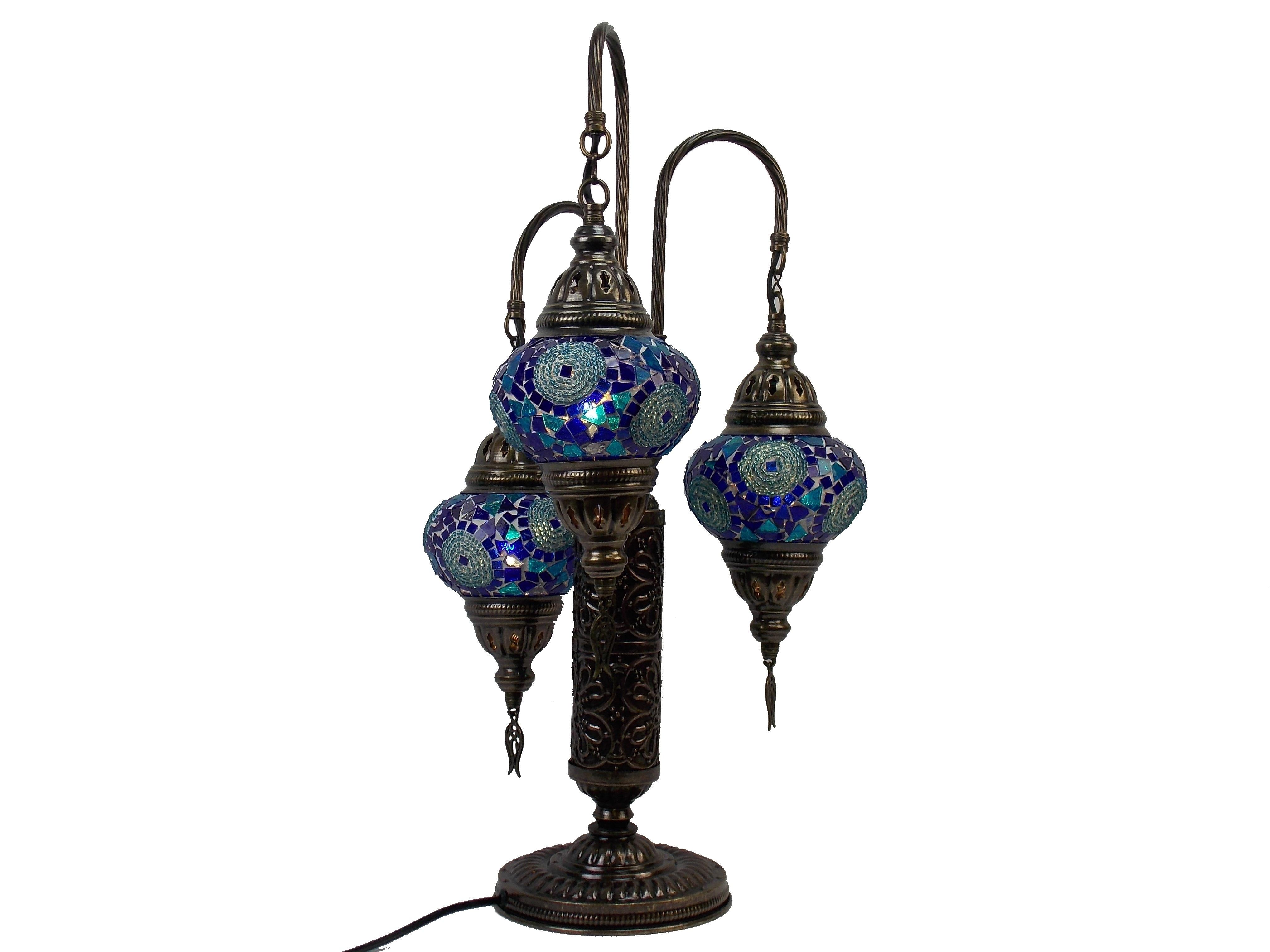 Lampa stil turcesc cu 3 brate din sticla mozaic handmade