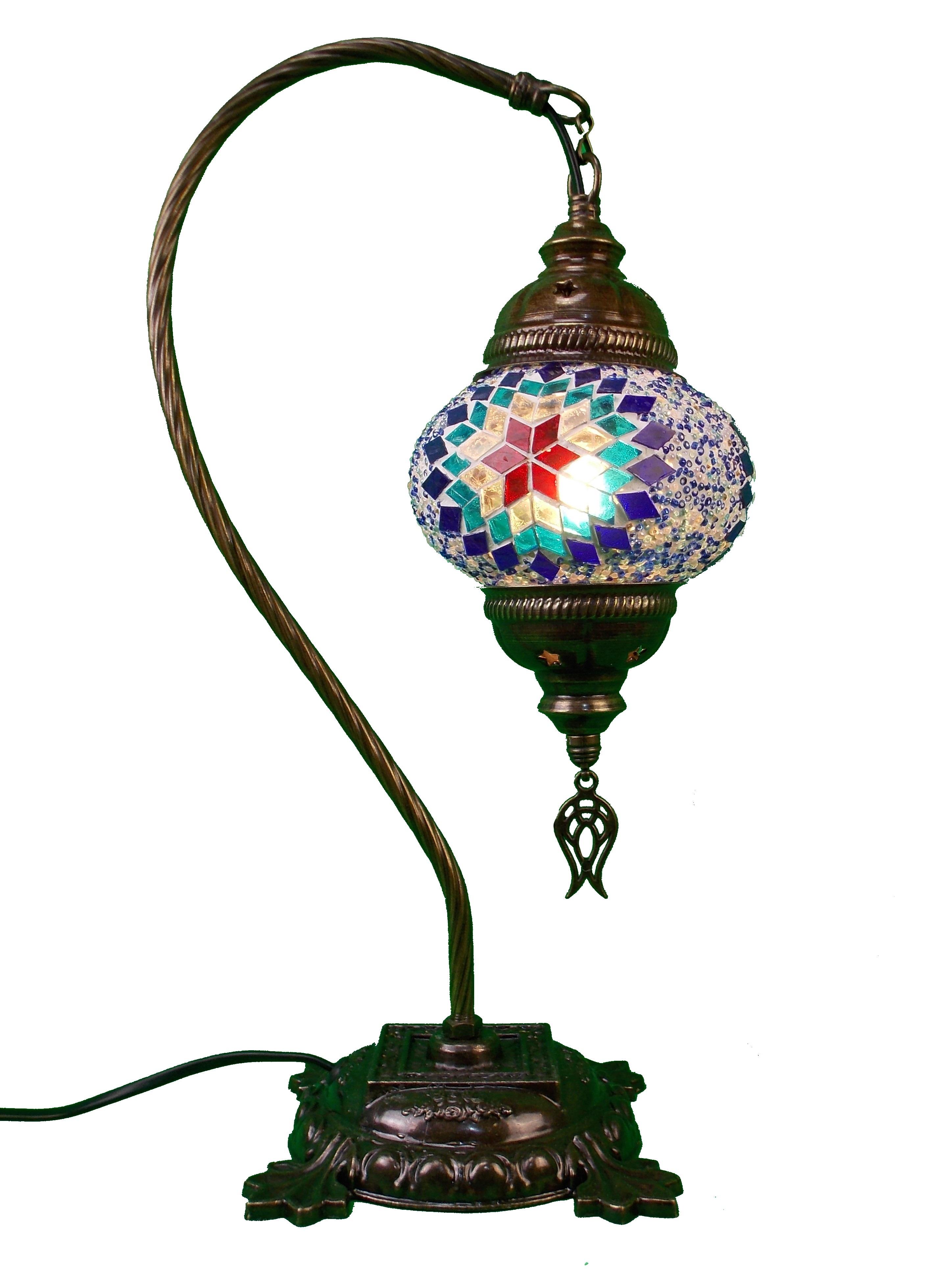 Veioza de sticla mozaic, din Turcia - picior din metal 44 cm, glob 13 cm