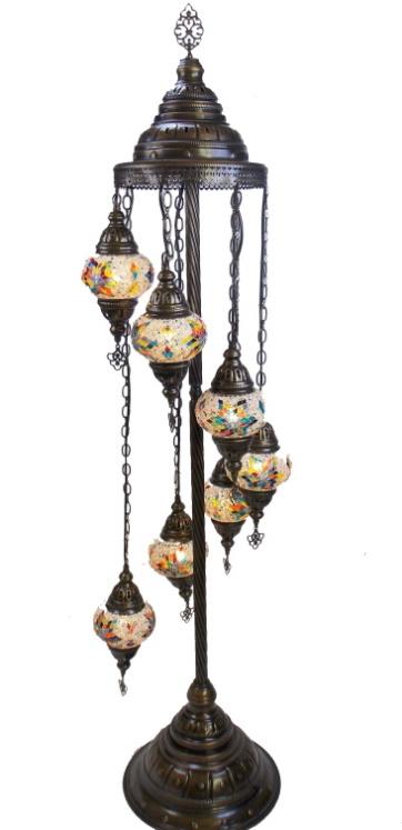 Lampadar decorativ turcesc din mozaic oriental cu suport metalic de 145 cm,  si 7  globuri din  stic